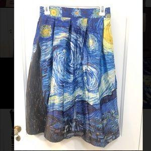 Dresses & Skirts - Van Gogh Starry Night Full Cocktail Skirt - Sz M